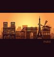 stylized landscape paris with eiffel tower arc vector image vector image