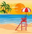 summer beach sunset landscape vector image vector image