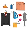 Tailor tools cloth and accessories vector image vector image