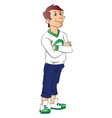 teen boy with arms crossed vector image vector image