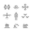 thin line icons set high technology artificial vector image