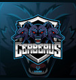 three headed cerberus mascot logo design vector image
