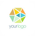 triangle crystal colorful logo vector image vector image