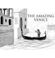 Venice canals gondola sketch vector image vector image