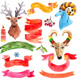 Watercolor beautiful Christmas collection vector image vector image
