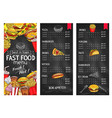 fast food restaurant chalkboard menu template vector image
