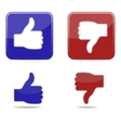 Thumbs up and thumbs down symbol icons vector image