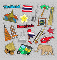 thailand travel elements with architecture vector image