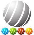 abstract striped globe in perspective 5 colors vector image