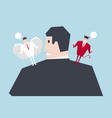 angel and devil suggesting on businessman shoulder vector image vector image