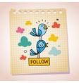 blue birds follow note paper cartoon sketch vector image vector image