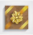 brown gift box - gold christmas and birthday bow vector image vector image