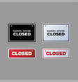 closed sign icon set simple design on gray vector image