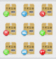 delivery boxes icons set isolated on transparent vector image vector image
