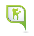 dental clinic symbol on green map pointer vector image vector image
