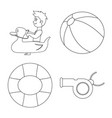 design of pool and swimming symbol set of vector image