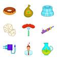 detrimental icons set cartoon style vector image