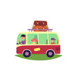 family travelling by bus with luggage rack on top vector image