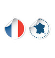 france sticker with flag and map label round tag vector image vector image