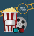 going to cinema pop corn 3d glasses film strip vector image vector image