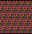 hand drawn flowers seamless pattern background vector image