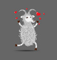happy in love funny white cartoon fluffy goat vector image vector image