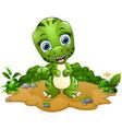 happy tyrannosaurus cartoon vector image