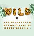 leopard skin cartoon font jaguar cheetah fur vector image
