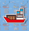 logistic cargo ship container in the ocean vector image