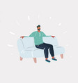 man on sofa relax online activity vector image vector image
