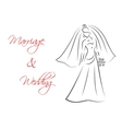 Marriage and wedding theme with bride silhouette vector image