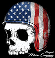 motorcycle helmet with american flag with skull vector image