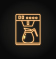 neon coffee machine icon in line style vector image