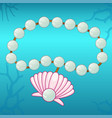 pearl bracelet with pink seashell vector image