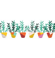 plant pots seamless border repeating vector image