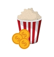 popcorn and coins icon vector image vector image