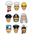 professions cartoon icon set for occupation design vector image vector image