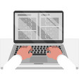 reading books on laptop vector image vector image