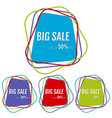set of four big sale stickers with chaotic lines vector image vector image