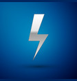 silver lightning bolt icon isolated on blue vector image