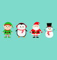 snowman santa claus elf penguin set happy new vector image vector image