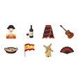 spain country icons in set collection for design vector image vector image