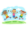 stick kids jumping together vector image vector image
