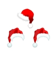 Three red santa claus hat vector image