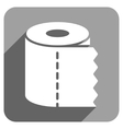 Toilet Paper Roll Flat Square Icon with Long vector image