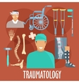 Traumatology symbol with surgeon and medical tools vector image vector image