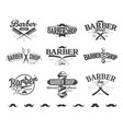 typographic barber shop emblems vector image