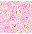 valentine seamless pattern with cute hedgehog vector image vector image