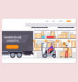 warehouse transport logisticswarehouse man worker vector image