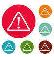 warning sign icons circle set vector image